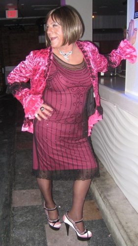 pink frock and jacket at Winterfest